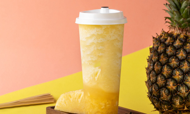 糖巢奶茶菠萝饮品宣传图